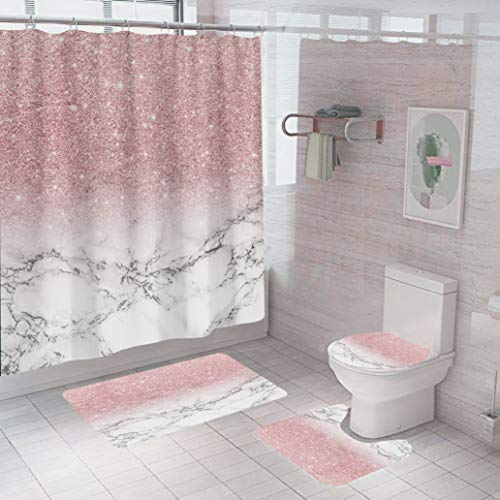 Juwute 4PCS/Set Shower Curtain Marble Pink Shiny (No Glitter) Bathroom Decor Set with 12 Hooks ,Toilet Lid Cover Sets with Non-Slip Rug Bath Mat for Bathroom, Polyester, Waterproof, 72x72 Inch