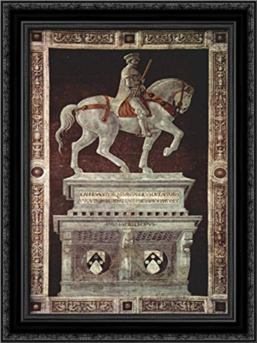 Equestrian Monument of Sir John Hawkwood 18x24 Black Ornate Wood Framed Canvas Art by Paolo Uccello