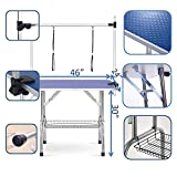 puppykitty 46' Folding pet Dog Grooming Table Durable Stainless Steel pet Dog cat Extra Large Grooming Table with Storage mesh Tray & Height Adjustable arm (46' Blue)