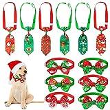 Set de 12 Corbatas de Mascotas de Navidad Corbata Collar y Pajarita de Perro de Navidad Corbata y Pajarita de Mascota de Festival con Collar Ajustable para Decoración Año Nuevo Navidad