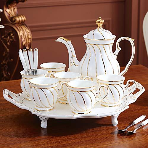 SHPEHP Teetassen und Untertassen, 6er-Set mit Goldrand und Geschenkbox, Cappuccino-Tassen, Kaffeetassen, weiße Teetasse, britische Kaffeetassen, Porzellan-Teeset, Latte-Tassen-A