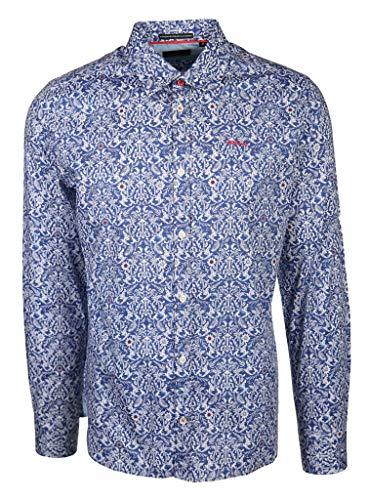New Zealand Auckland Herren Hemd mit Damast Muster Wahakari Größe XXL Blau (blau)