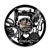 qweqweq Reloj de Pared de Arte de Costura Vintage, máquina de Coser, Punto de Cruz, Reloj de Pared con Registro de Vinilo, decoración del hogar de Qui Stitch Vintage, Regalo de mamá