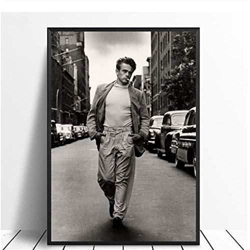 A&D Malerei Schwarz Weiß James Dean Lesen Filmstar Poster Drucken Wandkunst Leinwandbild Wohnzimmer Home Room Decor-50x70cmx1pcs-Kein Rahmen