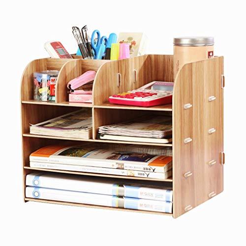 Organizador de escritorio de madera 4 compartimentos, estante con cajones. para guardar libros, periódicos, revistas, bolígrafos, lápices y hojas de papel A4. , color rojo