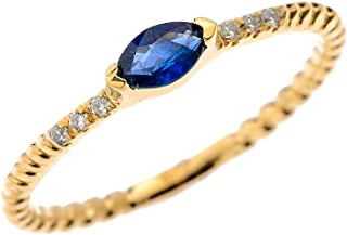 10k Yellow Gold Dainty Diamond and Marquise Sapphire Rope Design Stackable/Proposal Ring