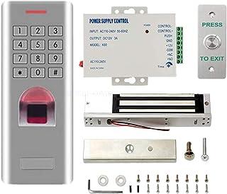 Outdoor Fingerprint RFID Access Control System with 600Lbs Waterproof Magnetic Lock +Power Supply+Waterproof Metal Exit Bu...
