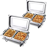 Giantex 2 Packs Chafing Dish 9 Quart Chafer Dishes Buffet Set Stainless Steel Rectangular Chafing Dish Set Full Size with 2 Half Size Pan (24'LX14'WX11.4'H (9 Quart))