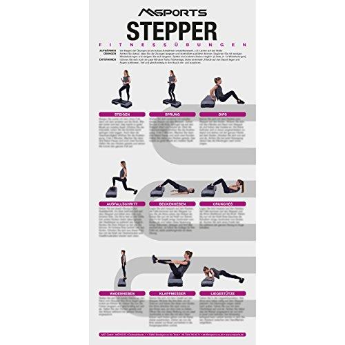 MSPORTS Übungsposter für das Steppbrett ca. 44x 21 cm | 9 Übungen