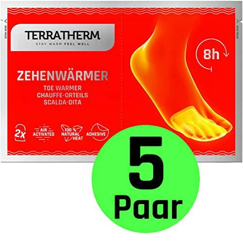 TerraTherm Fußwärmer Pads, Zehenwärmer selbstklebend für 8h warme Füße, Wärmepads Füße passen für alle Schuhe- extra dünn und angenehm weich, 5 Paar
