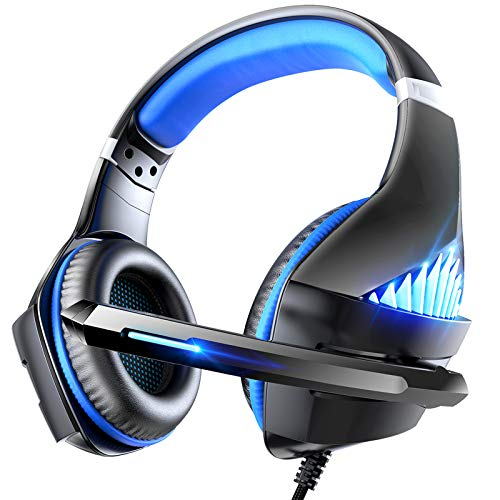 Viixm Cuffie Gaming per PS4 Xbox One, Cuffie da Gaming con microfono e Bass stereo, Microfono Riduzione del Rumore Controllo Volume Confortevole 3,5 mm LED per PC/Nintendo Switch/MAC/Laptop (blu)