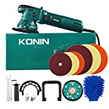 Polisher, 6 Inch/5 Inch Dual Action Random Orbital Car Buffer Polisher with D-Handle & Side Handle, 6-Level Variable Speed, 6 Foam pad for Car Polishing and Waxing