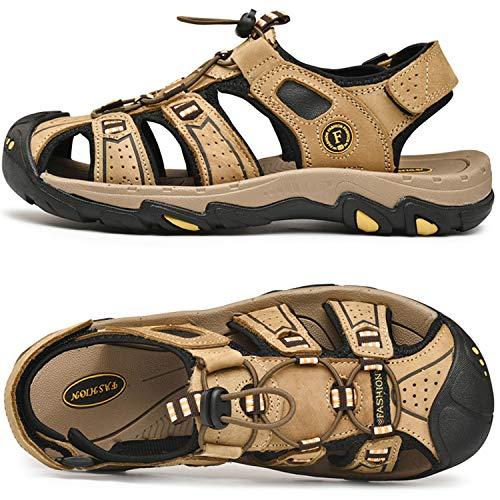 Lvptsh Sandalias Hombre Zapatillas de Senderismo Transpirable Peso Ligero Cuero Camper Deportivas Sandalias Al Aire Libre Pescador Playa Zapatos,Marrón claro,EU44
