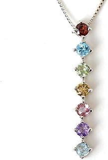 七色 ネックレス 7色 天然石 ペンダント 7カラー アミュレット プラチナ ネックレス Pt900 Pt850 縦型 厄除け 京都 お守り