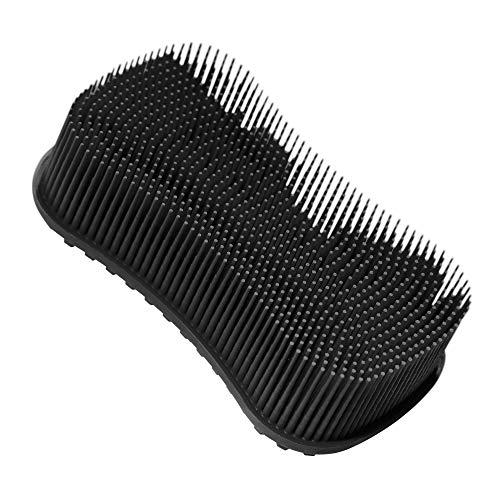 ELFRhino Bath Sponge 2 in 1 Silicone Shower Brush Natural Bristle Massager Brush Gentle Scrub Skin Exfoliation For Face and Body Massage Nubs Improve Cellulite