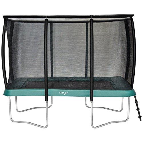 Etan Premium Gold Outdoor Trampolin mit Deluxe Sicherheitsnetz und Leiter - Rechteckig – Gartentrampolin mit Belastbarkeit 150 kg - Kinder trampolin mit 2 Paar Antirutsch-Socken extra (Grün, 310 x 232 cm)