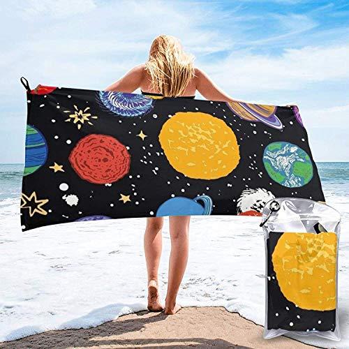 Toalla de Playa 27.5 'X 55',Cartoon Planet Ultra Soft Sand Microfibra Portátil Absorbente de Agua Multi Microfiber Sand Free Toalla de Playa Manta