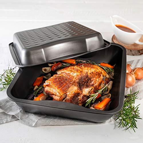 Zenker 7200 Marmite XXL Special Cooking 40x34x14 cm avec Couvercle Noir-Rouge, Émail, 52,5 cm