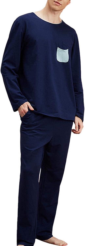 FMOGG Mens Pyjama Set Long Sleeve Top & Pants Thicken Pj Set Cotton Sleepwear Nightwear Loungewear Blue M-XXL