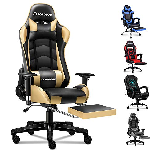 ELFORDSON Gaming Chair Racing Chair Executive Sport Office Chair with Footrest PU Leather Armrest Headrest Home Chair (Gold)