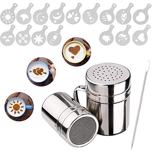 Whaline 2 Pack Chocolate Shaker Dusters Stainless Steel Mesh Shaker Powder Shaker for Icing Sugar Powder Cocoa Cappuccino with 16 Coffee Stencils 1 Coffee Art Pull Pin, for Kitchen, Drinks and Baking