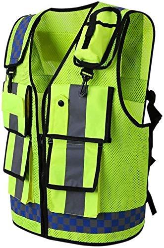 Fluorescerend fietsharnas High Visible Reflective Safety Vest Met Multi-pockets en Twee Haken aan de Voorkant, Rits Voorzakken Ademend en Mesh Voering Super helder reflecterend vest
