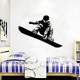 Deportes extremos Snowboard etiqueta de la pared Snowboard Boy Interior habitación de los niños adolescentes dormitorio calcomanías extraíbles murales A1 57x42cm