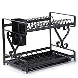 TTXP Acero Inoxidable Escurreplatos Absorbente de 2 Pisos con Bandeja de Gota Extraíble,41x24.5x31.5cm / 16x9.6x12.4in,Negro Escurreplatos Colgar para Kitchen Essentials