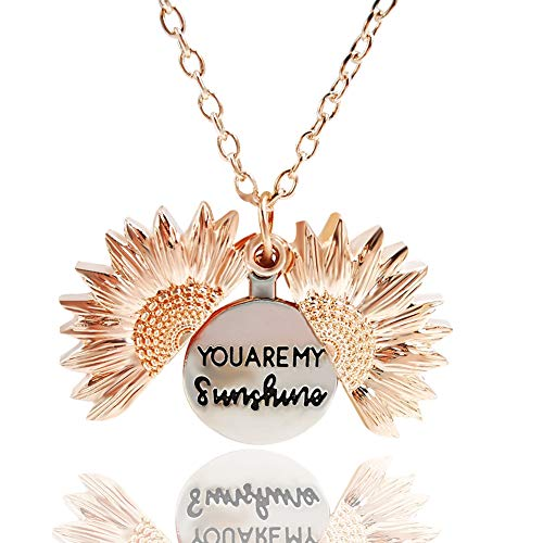 YKULEW Sunflower Locket Necklace Love Mom Engraved Pendant Necklace for Women Girls with Nice Gift Box