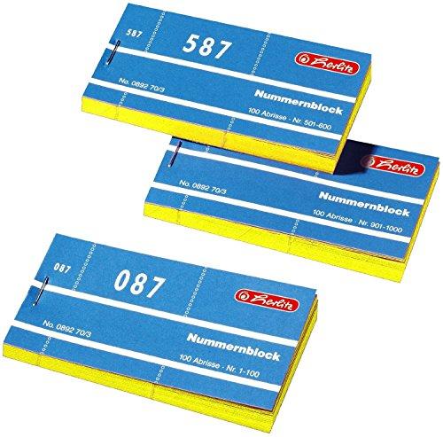 Herlitz 892703 Nummernblöcke 1-1000 Nummer 1-1000 10x100 Abrisse (10x100 Abrisse, gelb)