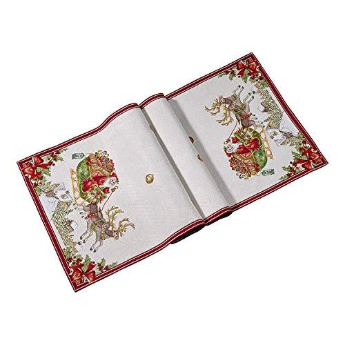 Villeroy & Boch - Toy's Fantasy Chemin de Table Gobelin Luge XL, Chemin de Table avec Motif Luge, Coton, Polyester, Rouge, Multicolore, 49 x 143 cm