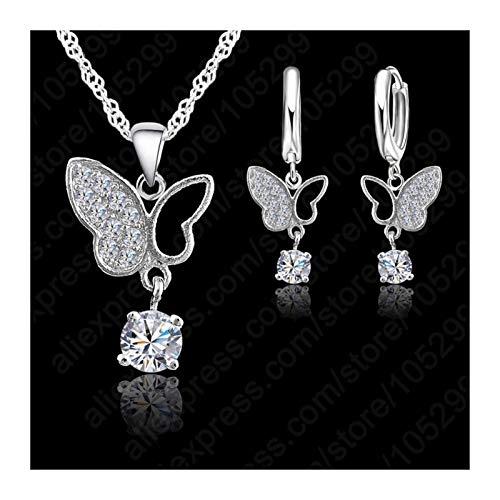 CQOQ Joyería De Plata Esterlina Nueva Tendencia Cristal Collar De Cristal Mariposa Colgante Joyería Conjunto