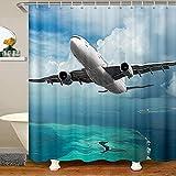Homemissing Flugzeug Badezimmer Wasserdicht Duschvorhang Textil 3D Flugzeug Duschvorhang 180x210cm Kinder Jungen Mädchen Flugzeug Fliegen Zubehör mit Haken Ozean Meer Dekor Gardinen