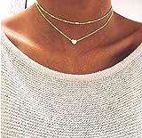 Damen Halskette mit kleinem Herz in Gold | Zwei Ketten aus Kupfer mit Legierumg | Doppelkette einzel tragbar
