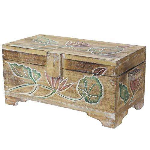 Oriental Galerie Truhe Holzkiste Holztruhe Schatztruhe Kiste Box Palmenholz Holzbox Blumen Schnitzereien Shabby Used Look Natur Bunt 39cm