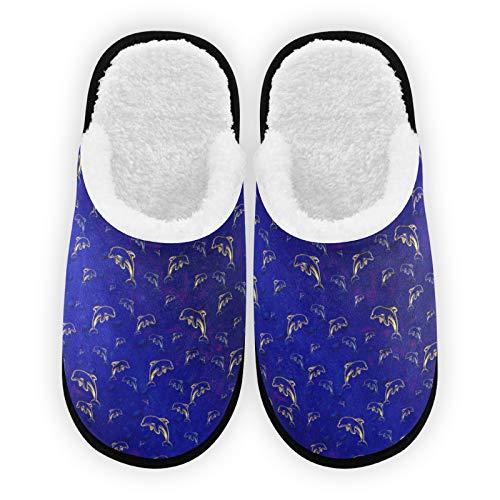Herren Damen Hausschuhe Dunkelblau Delfin Plüsch Futter Komfort Warm Coral Fleece Damen Hausschuhe für Indoor Outdoor Spa