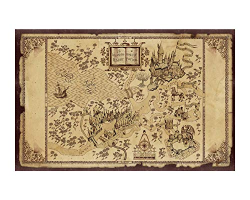iMod Harry Potter Marauder's Map Poster On Silk Fabric 28x20 Inch Wall Decor Decals