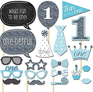 20pcs/set Blue 1st Birthday Boy Photo Booth Props on A Stick DIY Kits Photobooth Fun to be One Party Decoration Favour Gif...