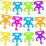 Set of 3 Paper Pinata Banner Garlands, Multicolored Fiesta Themed for Cinco De Mayo Decoration - 12 Feet Long with 9 Panels Each String (Set of 3 Strings)