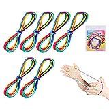 Huker 6 Pièces Rainbow Rope Cats Cradle Corde Jeu de Ficelle Corde à Doigts Fournitures de Jouets (Longueur 165 cm)