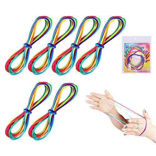 Huker 6 Stücke Katze Wiege Seil Fadenspiel Regenbogen Geschicklichkeitsspiel Fingerspiel Spielzeug Spiel Schnur Finger Schnur für Party Lieferungen (165 cm Länge)
