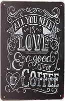 必要なのは、良いカップが大好きのコーヒー、金属のブリキ看板、ビンテージアートポスタープラークキッチンカフェ家の壁の装飾