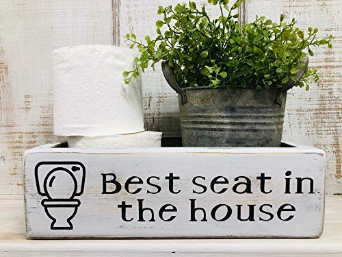 GEDA Toilet Storage Box Toilet Paper Caddy Back of Toilet Box Funny Bathroom Decor Best seat in The House