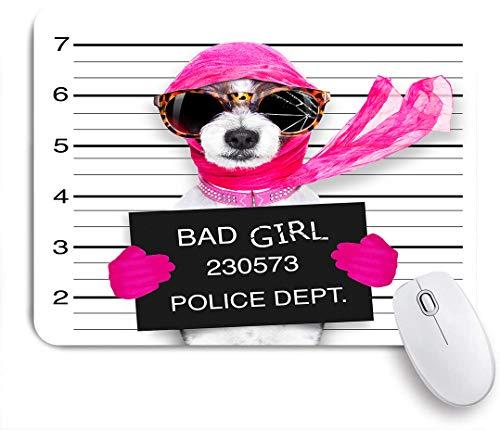 Marutuki Gaming Mouse Pad,Diva Lady Girl Dog posiert für einen schönen Fahndungsfoto, als Verbrecher und Dieb mit zerbrochener Sonnenbrille und Schal,für Computer Laptop Office Desk,240 x 200mm