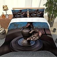 3D羽毛布団カバーセット寝具セットジッパーデザイン3Dデジタルパターン 200x200cm 陶芸 豪華なソフトマイクロファイバースリーピース羽毛布団カバーと枕カバー