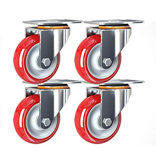 OWUV 75mm Swivel Castors Wheels for Furniture, Red, 4X PU Rubber Swivel Casters Trolley Wheels Without Brake, Heavy Duty Swivel Wheels, Bearing Capacity 200kg, Moving Caster Wheels