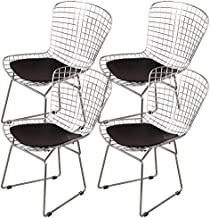 MLF Harry Bertoia Wire Side Chair (Set of 4). Chromed Wire Frame with Plastic Feet & PU Leather Cushion. (Black)