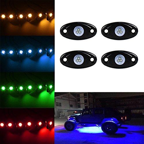 KaTur 4 Pods RGB LED Rock Lights App Contrôle Bluetooth étanche Trail Rig Barre d'éclairage néon pour J eep Off Road Camion Voiture A TV S UV Véhicule Bateau Intérieur