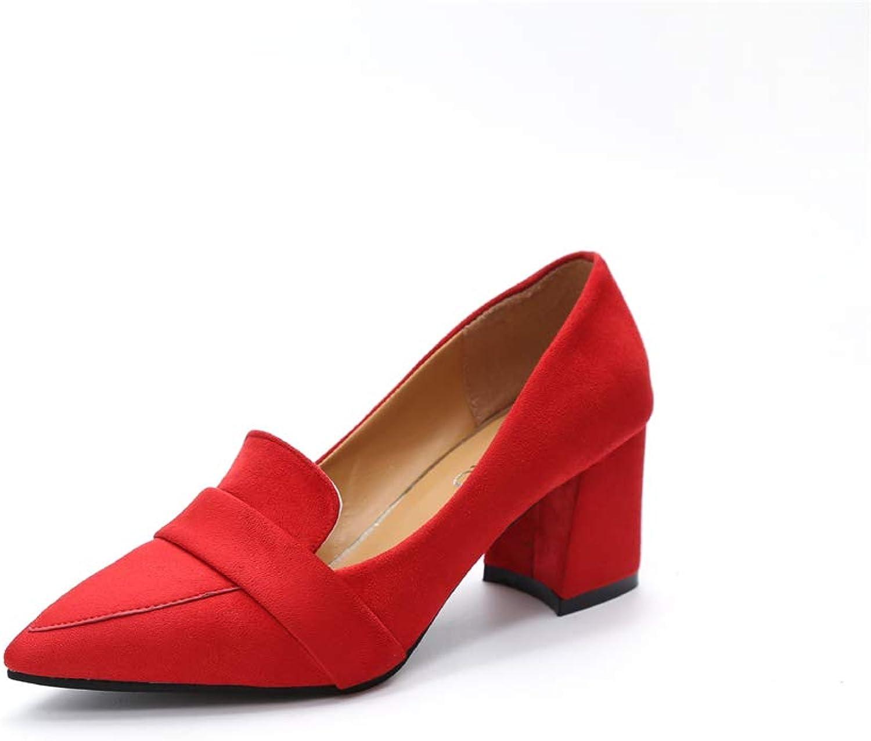 QXH Women's Classic Round Toe Comfort Flats Dress Pumps shoes