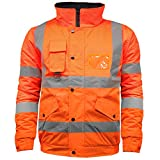 High Visibility Safety Security Reflective Protective Waterproof Workwear Bomber Jacket Fluorescent (L, Fluorescent Orange)